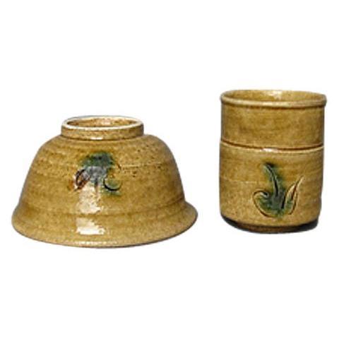 黄瀬戸 草紋 飯碗 と 湯呑