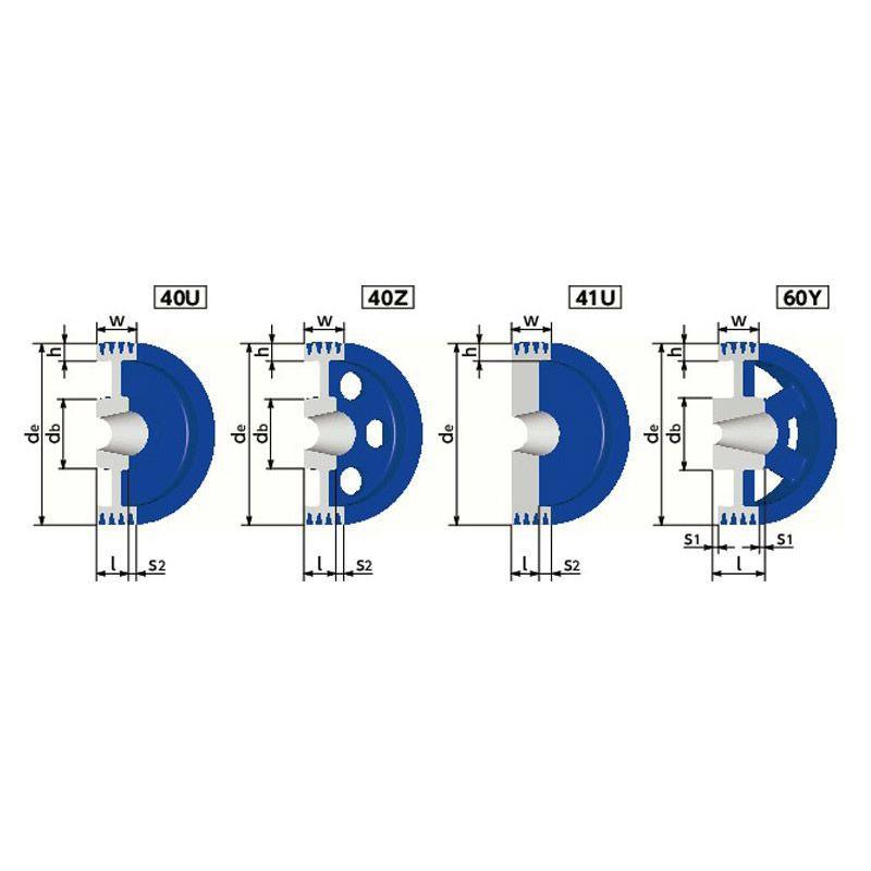 SP8V-1000-4 NBK 鍋屋バイテック SPプーリー SP8V型 4本掛 イソメックプーリー 8Vベルト適用