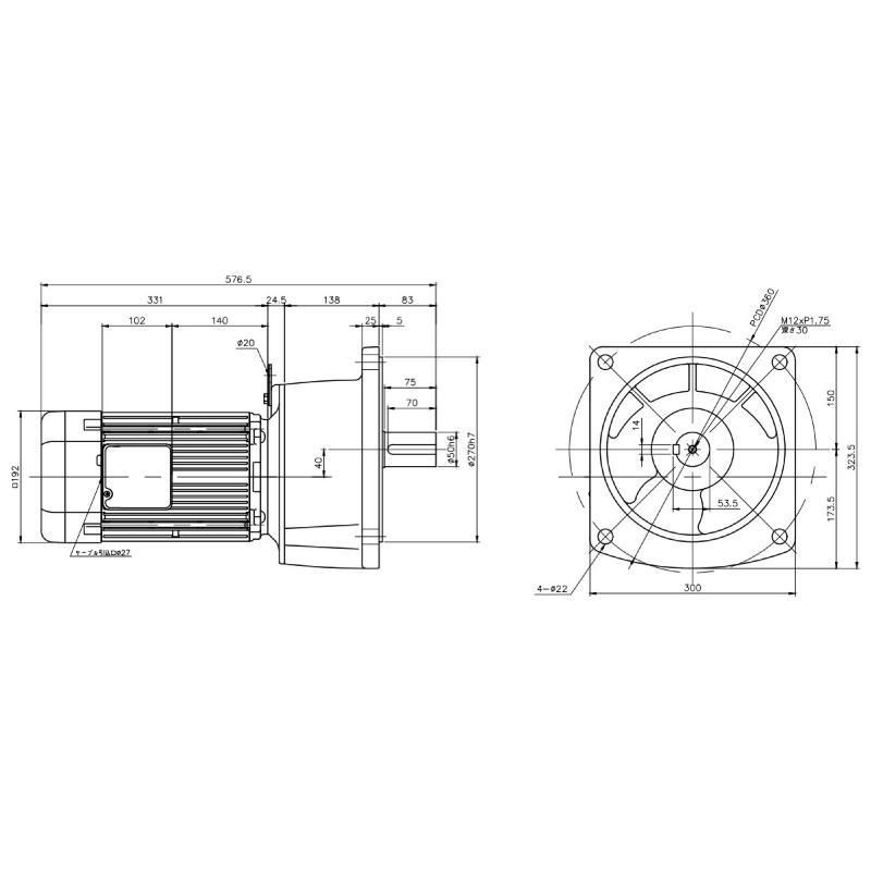 ニッセイ ギアモータ 平行軸 G3F50N30-MD22TWNTB4 フランジ取付 2.2kW 三相400V 標準ブレーキ付