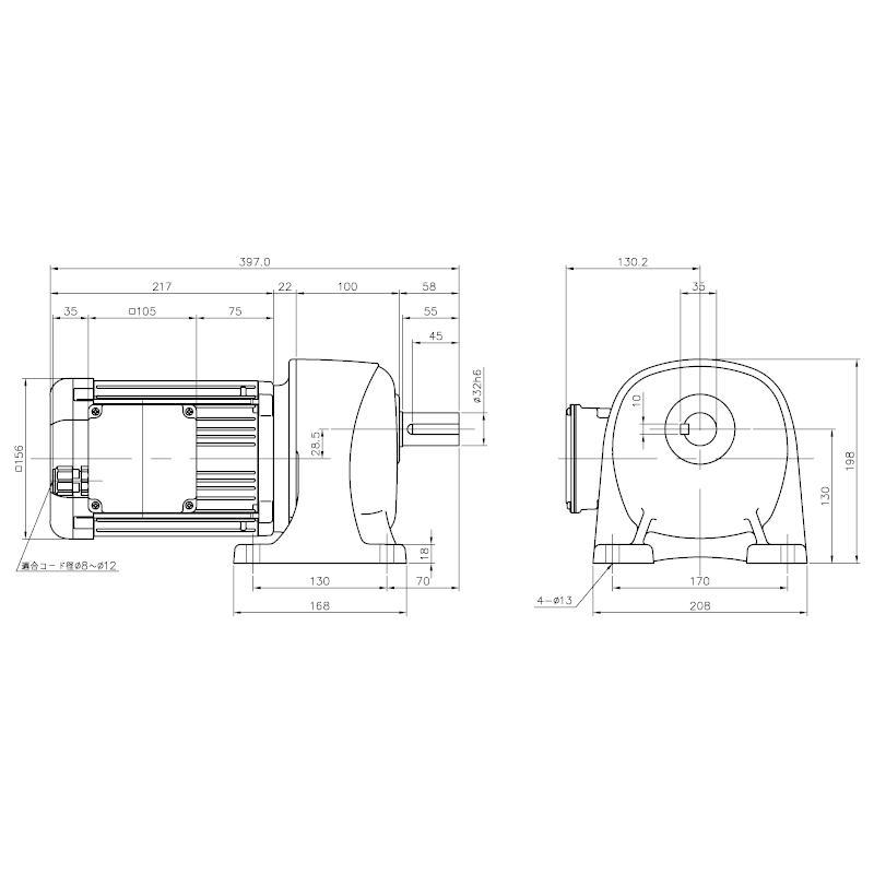ニッセイ ギアモータ 平行軸 G3L32S40-WD08TNNEN 脚取付 防水 0.75kW 三相200V ブレーキ無