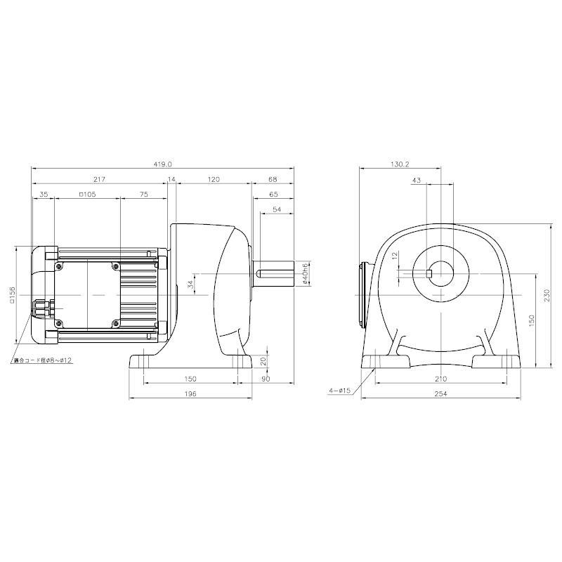ニッセイ ギアモータ 平行軸 G3L40S120-WD08TWNEN 脚取付 防水 0.75kW 三相400V ブレーキ無