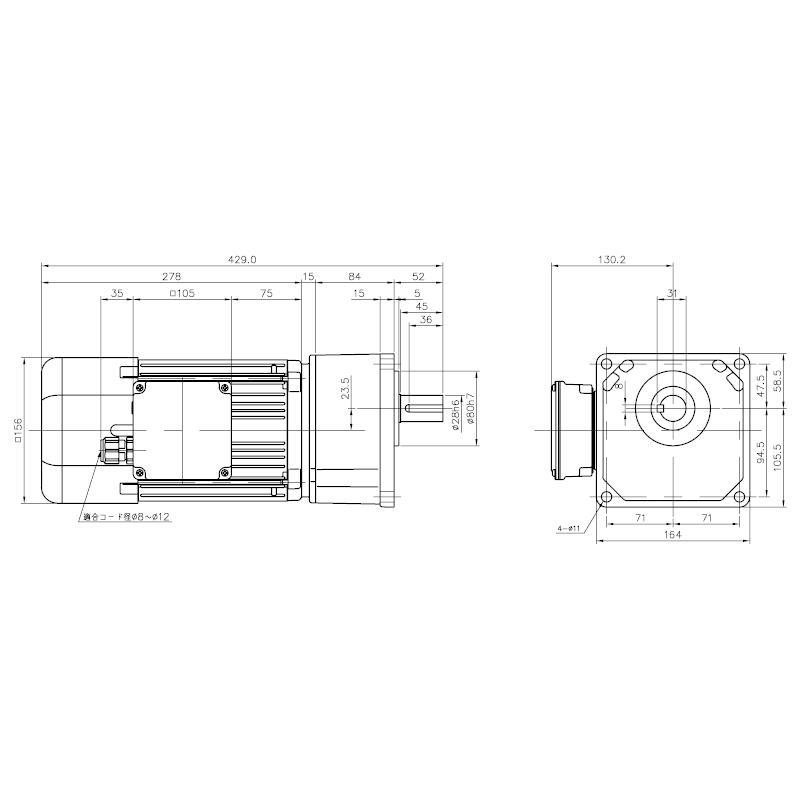 ニッセイ ギアモータ 平行軸 G3K28S25-WD08TWNEV4 小フランジ取付 防水 0.75kW 三相400V 防水ブレーキ付