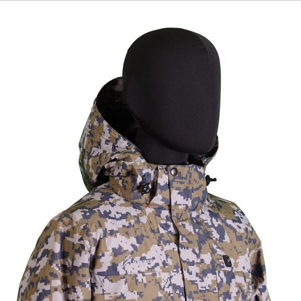 VG-2021-CAM ヒートン暖房服 迷彩柄防水防寒フード付きレインジャケット