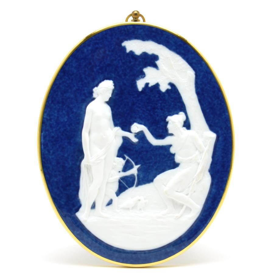 セーブル 浅浮き彫り ハンドメイド パリスの審判 御影石模様 白磁 壁飾り 新硬質磁器 Sevres