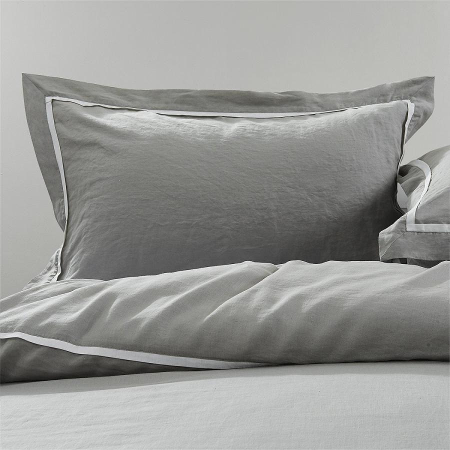 寝具カバーセット 麻 リネン100% シングル 3点セット 3点セット 薄グレー ベッド用布団カバーセット掛ふとんカバー+ボックスシーツ+枕カバー 横縞