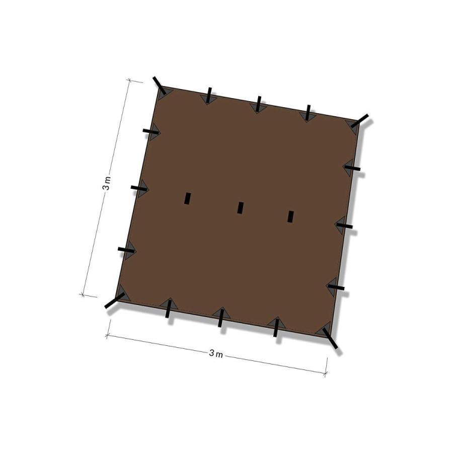 DDタープ 3x3 DD Tarp タープ 3×3 高破断強度 カラビナ付 (コヨーテブラウン) shaman-sele-y 02