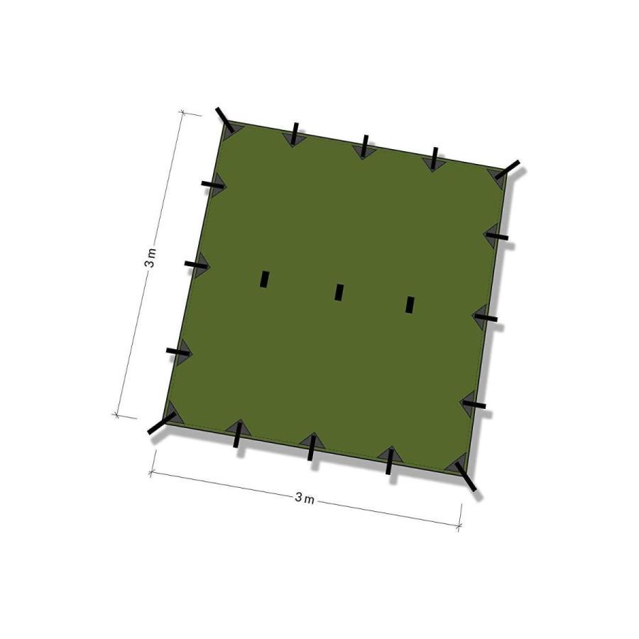 DDタープ 3x3 DD Tarp タープ 3×3 高破断強度 カラビナ付 (オリーブグリーン)|shaman-sele-y|02