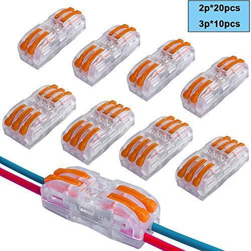 FULARRR 30個 プレミアム SPL-2 / SPL-3レバーナットワイヤコネクタ、バイラテラル 導体コンパクトワイヤコネクタ、ワンタッチコネク|shanti-store