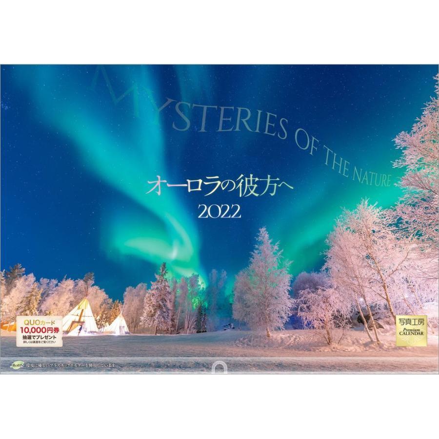 カレンダー 2022 壁掛け 大型サイズ オーロラの彼方へ L-26 プラスチック・ホルダー付 令和4年 写真工房 shashinkoubou