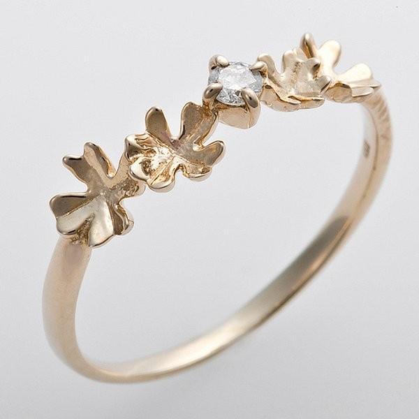 最も完璧な K10イエローゴールド 天然ダイヤリング 指輪 ダイヤ0.05ct 9号 アンティーク調 プリンセス フラワーモチーフ, AppleCloth 93f5fe6a