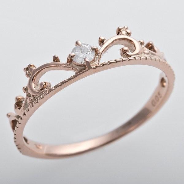 専門店では ダイヤモンド リング K10ピンクゴールド ダイヤ0.05ct 10号 アンティーク調 プリンセス ティアラモチーフ, sportsjapan da9040e7