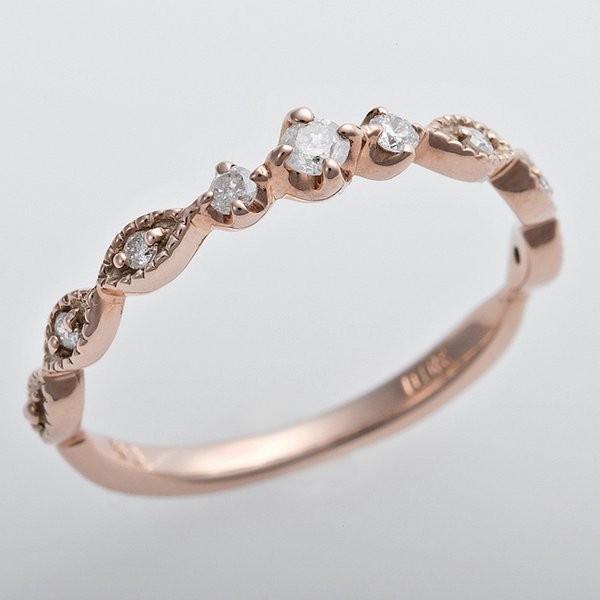 独特の上品 K10ピンクゴールド 天然ダイヤリング 指輪 ピンキーリング ダイヤモンドリング 0.09ct 3号 アンティーク調 プリンセス, おかしのマーチ 1742f217
