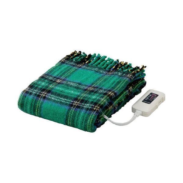 かわいい電気ひざ掛け毛布 かわいい電気ひざ掛け毛布 ダニ退治機能/室温センサー付き 洗濯可 日本製 長方形 82cm×140cm グリーン(緑)〔代引不可〕