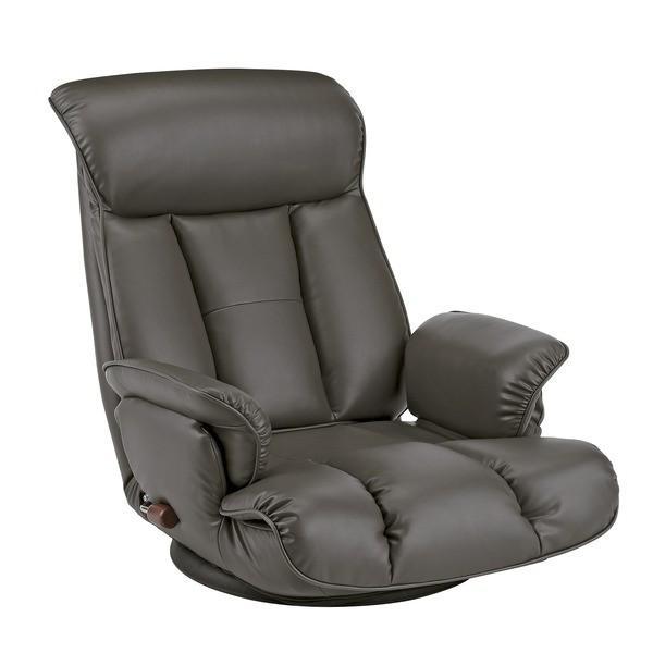 スーパーソフトレザー座椅子/フロアチェア 〔ダークグレー〕 張地:合成皮革/合皮 肘付き ハイバック 日本製 『昴』 〔完成品〕〔代引不可〕
