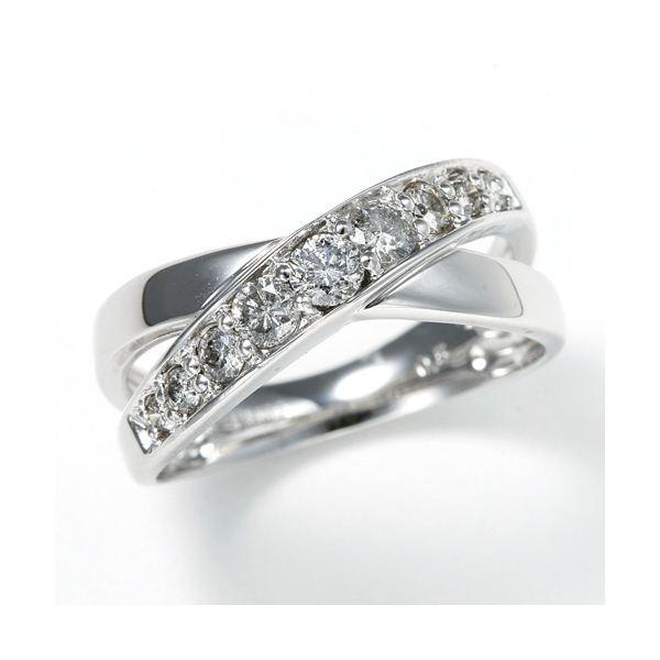 お手頃価格 0.5ct ダブルクロスダイヤリング 指輪 エタニティリング 17号, 表札マイスター 56d836b9