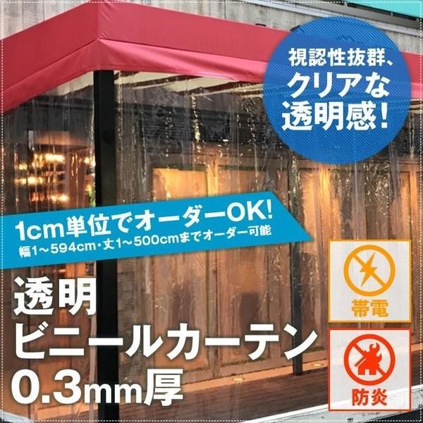 ビニールカーテン 透明 クリア 帯電・防炎 0.3mm厚 幅545〜594cm×丈401〜450cm