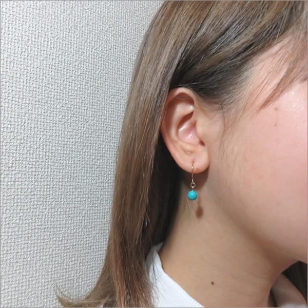 ピアス レディース ターコイズの一粒シンプルピアス 日本製 30代 40代 50代 アクセサリー|shi-zu-ku|02