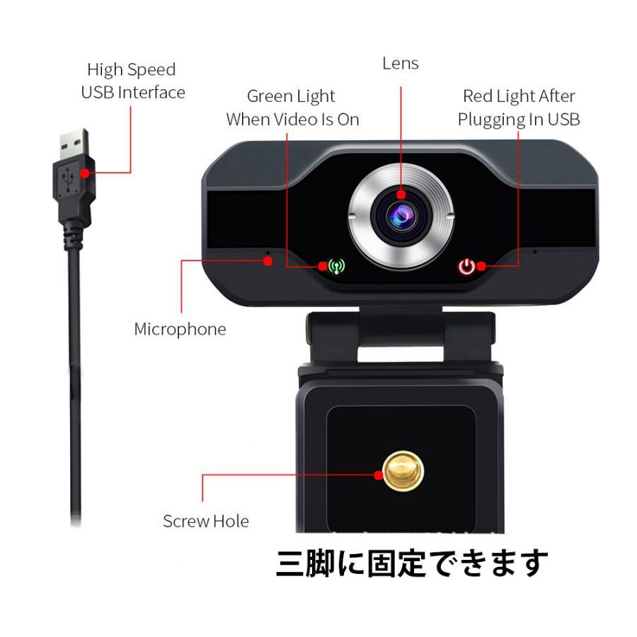 webカメラ フルHD マイク内蔵 1080p 三脚付 USB-C変換 レンズキャップ 広角 高画質 電話会議 shianabo-store 03
