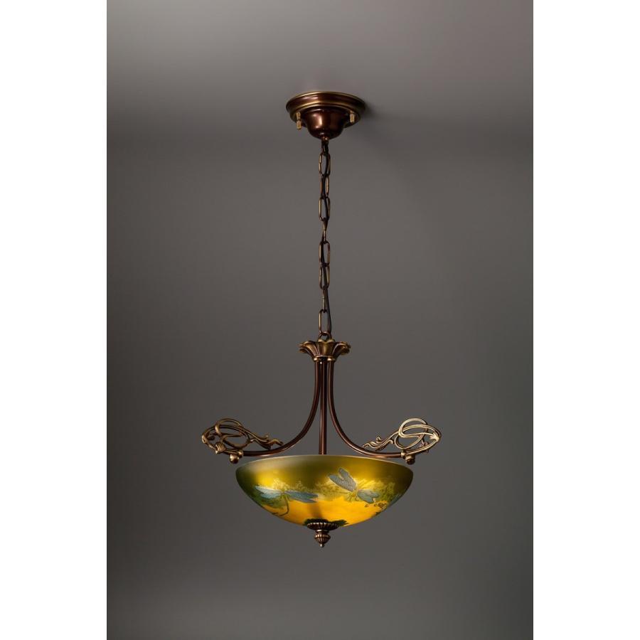 ガレ風 照明 チェーン吊り3灯ペンダント Libella〜蜻蛉 / 真鍮製アンティークブロンズ AGL-11AB/P3-73