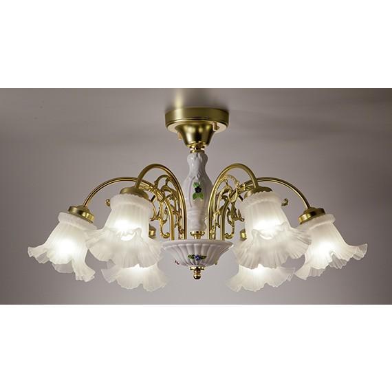 スペイン製 ハンドメイド白色陶器真鍮製ゴールドメッキ6灯シーリングシャンデリア クエンカ CUE003H6-259