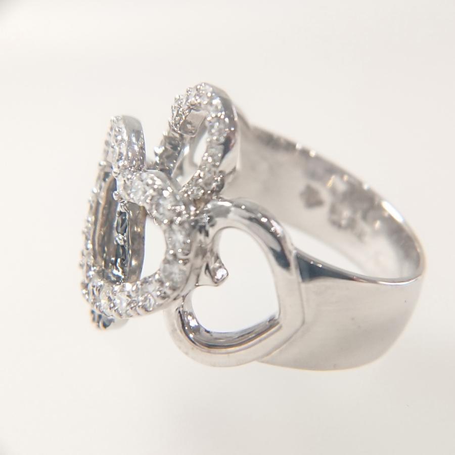 【送料無料】ポンテヴェキオ Ponte Vecchio K18WG ダイヤモンド計0.80ct ハートモチーフリング 10号★新品仕上げ済美品★|shichi-nishigaki|04