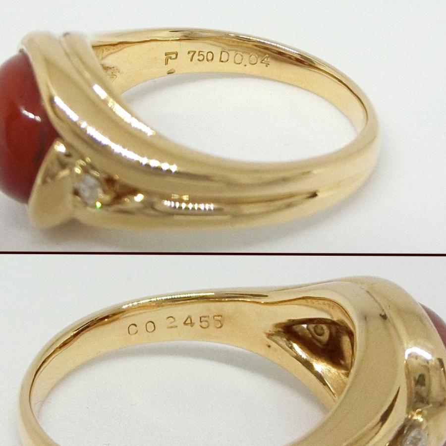 【送料無料】ポーラ POLA 750YG 赤珊瑚 ダイヤモンド リング  オーバル サンゴ 約13号 ★美品★ shichi-nishigaki 03
