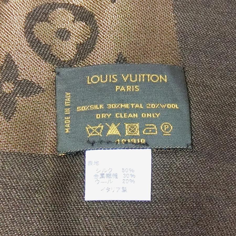 【送料無料】ルイ・ヴィトン LOUIS VUITTON 大判ストール モノグラムシャイン 401910 ブラウン×ゴールド 金属繊維 shichi-nishigaki 03