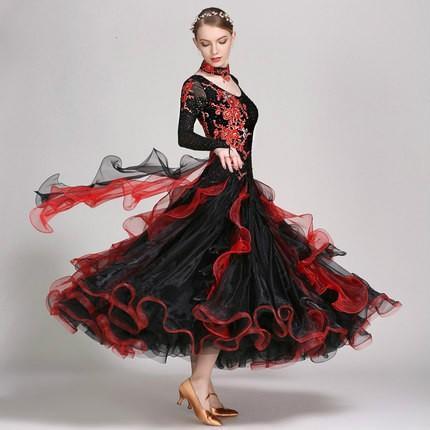 社交ダンスドレス  ラテンドレス モダンドレス ロングスカート ダンスウエア 練習 競技 デモ ダンス衣装 ワンピース
