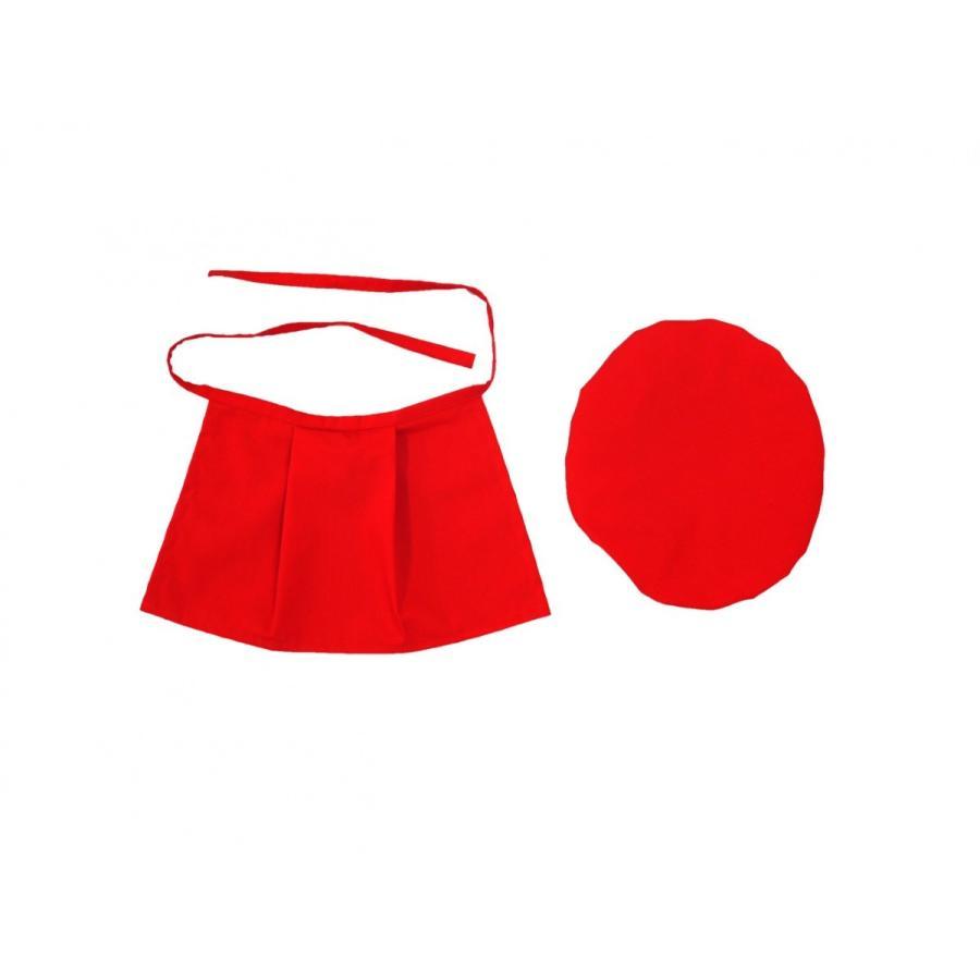 お地蔵さん 前掛け よだれかけ 帽子 小サイズ 赤 セット