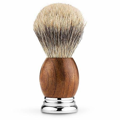 CHARMMAN 上質なアナグマ毛のシェービングブラシで、天然ナシの持ち手と重い合金の台座、頑丈なアルミの旅行 shimoyana 02