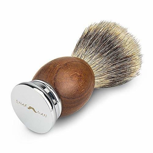 CHARMMAN 上質なアナグマ毛のシェービングブラシで、天然ナシの持ち手と重い合金の台座、頑丈なアルミの旅行 shimoyana 04