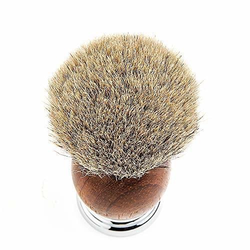 CHARMMAN 上質なアナグマ毛のシェービングブラシで、天然ナシの持ち手と重い合金の台座、頑丈なアルミの旅行 shimoyana 05