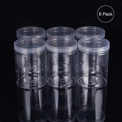 BENECREAT 6パック 500ml円柱プラスチック透明収納ボックス 小物収納ケース 蓋つき 円柱 アクセサリービーズ アク|shimoyana|04
