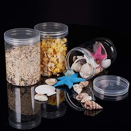BENECREAT 6パック 500ml円柱プラスチック透明収納ボックス 小物収納ケース 蓋つき 円柱 アクセサリービーズ アク|shimoyana|06