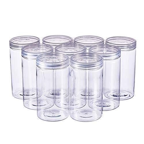 BENECREAT 9パック 300ml円柱プラスチック透明収納ボックス 小物収納ケース 蓋つき 円柱 ビーズ アクセサリー 小 shimoyana