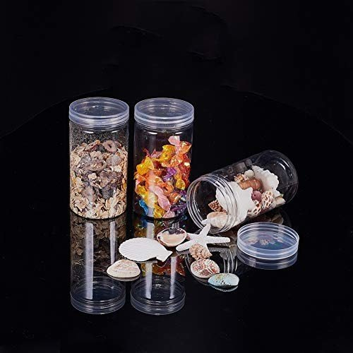 BENECREAT 9パック 300ml円柱プラスチック透明収納ボックス 小物収納ケース 蓋つき 円柱 ビーズ アクセサリー 小 shimoyana 06
