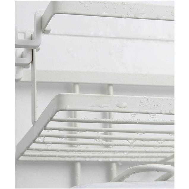 トイレ小物 棚 コーナーラック 簡単収納  浴室 ティッシュ収納 ラック スタンド おしゃれ 壁面 水切り設計 shin-8 15