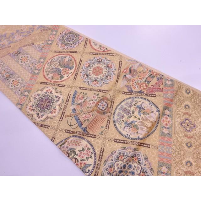 リサイクル 狩猟に花鳥・古楽器模様織出し袋帯