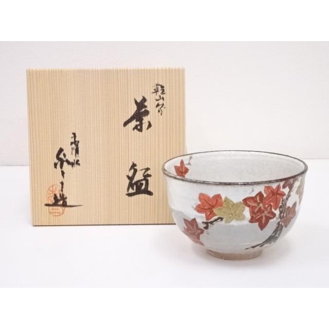 京焼 浅見与し三造 乾山写紅葉茶碗