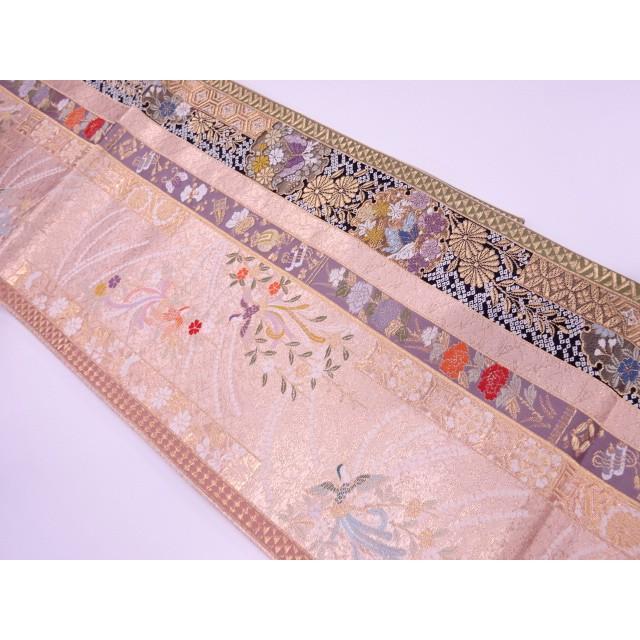 リサイクル 縞に花鳥・宝尽くし模様織出し袋帯