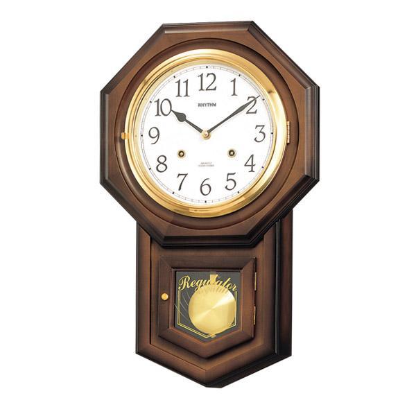 リズム RHYTHM 掛け時計 フィオリータR 4MJ770RH06 茶色半艶仕上 ホワイト