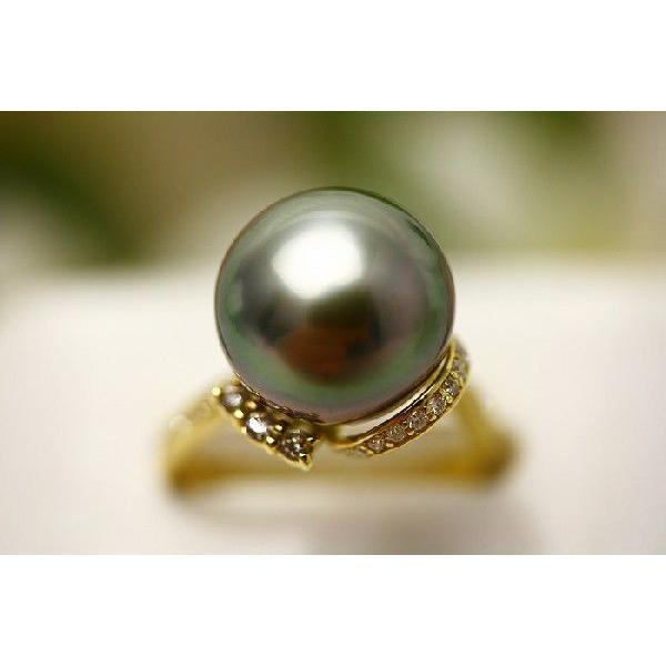 誕生日プレゼント 真珠 指輪 タヒチ黒蝶パールリング 12mm グリーンカラー K18製/D0.20ct, 特価 f4da614c