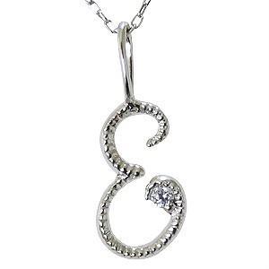日本製 イニシャルE ペンダントネックレス ダイヤモンド 0.01ct K18WG ホワイトゴールド 送料無料, ミマタチョウ 08c0b679