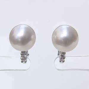 最高の パールイヤリング パール 南洋真珠 10mm ホワイトゴールド K18WG イヤリング ダイヤモンド 0.14ct 冠婚葬祭, 授乳服のモーハウス 41242ed3