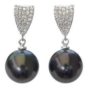 大人女性の イヤリング パール 黒真珠パール K18ホワイトゴールドイヤリング ダイヤモンド 冠婚葬祭, カミタカラムラ 5d056cb7