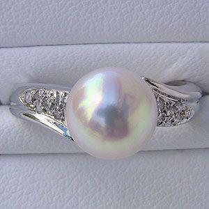 宅配 指輪 ブライダル リング パール あこや真珠パールリング K10ホワイトゴールド ダイヤモンド 冠婚葬祭 普段使い, ティーモータース 83ceb7ff