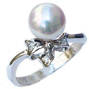 新規購入 リング パール 指輪 あこや真珠パール PT900プラチナリング ダイヤモンド リボン 冠婚葬祭 普段使い, シチガハママチ eb3d48f3