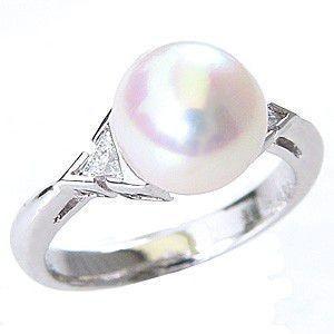 100%本物 リング パール 花珠真珠 真珠指輪 あこや本真珠 花珠パール 純プラチナ PT999 ダイヤモンド 冠婚葬祭 普段使い, F-Foto 98375970