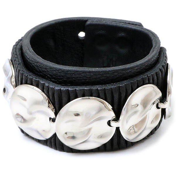 品質一番の BLACK TRIANGLE DESIGN【ブラック・トライアングル・デザイン】CIRCLE PLATE leather bracelet / BLACK x SILVER / UNISEX @20000, 京都杏仁本舗 c3e397f3