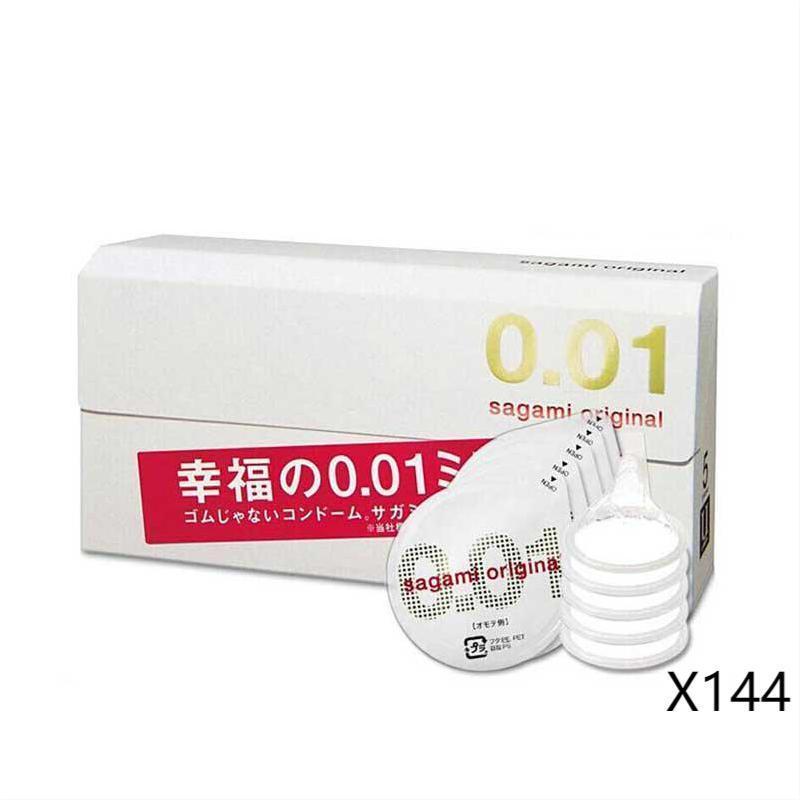 ▲144個セット·サガミオリジナル 001 5コ入 コンドーム 幸福の0.01ミリ